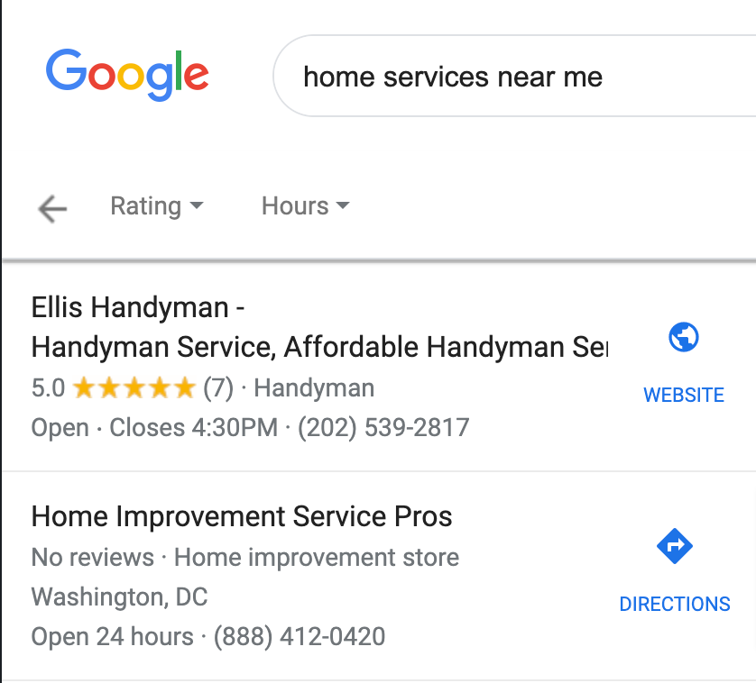 Example of how the star rating system can help home services businesses stand out. In the results, one listing has 5 stars while the other has none, which creates visual contrast.
